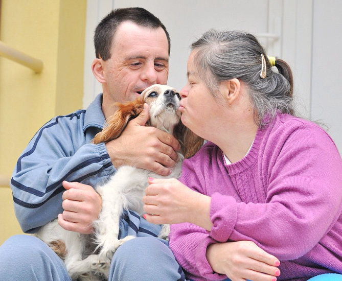 man and woman kissing the dog